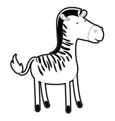 zebra cartoon with black sections silhouette and vector image