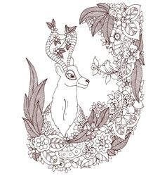 Zen Tangle deer in a flower vector image vector image