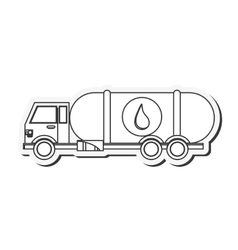 Fuel tanker truck or cistern truck icon vector