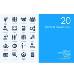 Set of blue hamster library human resources icons vector