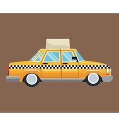 taxi car side view with publicity brown background vector image