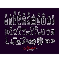 Flat alcohol icons violet vector
