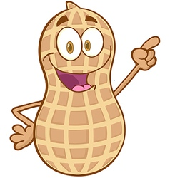Peanut cartoon character holding a finger up vector