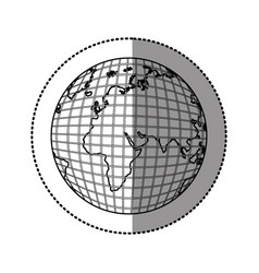 Monochrome contour sticker with world map vector