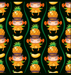 Seamless pattern with pineapple fruit girl vector