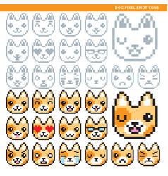 Dog pixel emoticons vector
