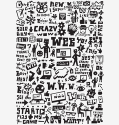 Web doodles design elements vector