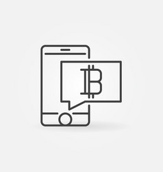 Smathphone with cryptocurrency line concept icon vector