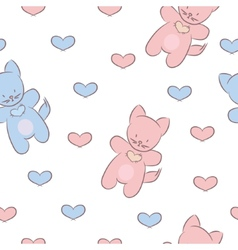 Seamless pattern with toys and hearts vector