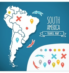 Hand drawn south america travel map with pins vector