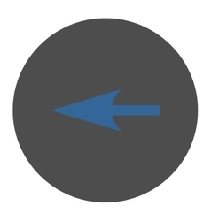 Sharp left arrow flat cobalt and gray colors round vector
