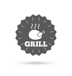 Chicken grill sign icon hen bird meat symbol vector