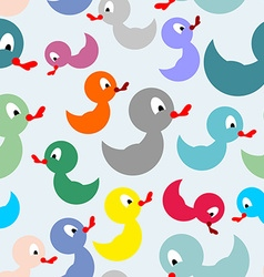 Colored rubber duck for bathing seamless pattern vector