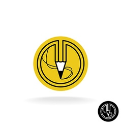 Pencil logo with stroke lines in a round badge vector