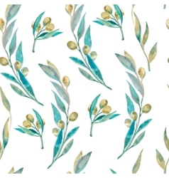 Watercolor green olive pattern olive branche vector
