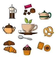Tea bakery and pastry objects vector