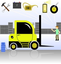 Service and diagnostics forklift vector