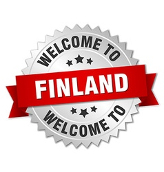 Finland 3d silver badge with red ribbon vector