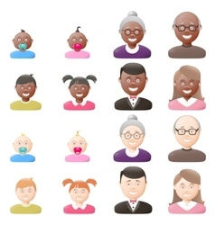 People with age groups light and dark skin icon vector