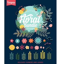 Floral Bundle Icon Set vector image