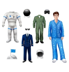 Astronaut Boy Set vector image