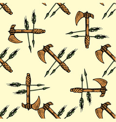ax and arrows seamless pattern background vector image vector image