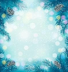 Blue Christmas background with tree branches and vector image