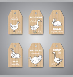 butchery shop price tags and labels vector image vector image