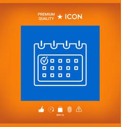 Calendar with check mark- line icon vector