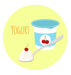 cherry yogurt in plastic cup milk cream product vector image