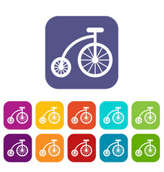Children bicycle icons set vector