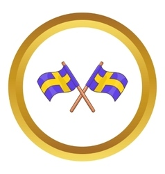 Crossed swedish flags icon vector