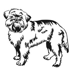Decorative standing portrait of brussels griffon vector