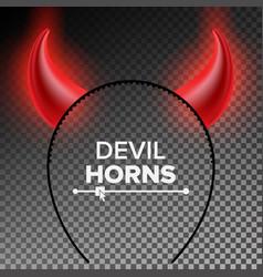 Devil horns head gear red luminous horn vector