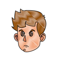 Drawing character face head boy kid angry vector