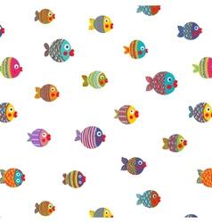 Fish Shoal Bright Cartoon Seamless Pattern vector image