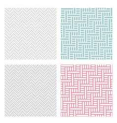 Geometric weave puzzle pattern in four color vector