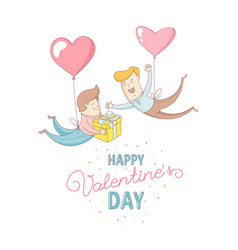 gey men characters flying by heart balloons happy vector image vector image