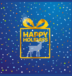 greeting card with logo happy holidays vector image vector image