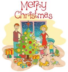 happy christmas family vector image
