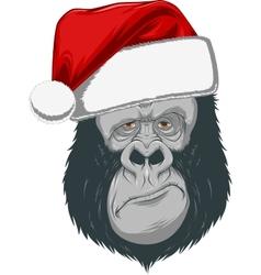 Head gorilla in a cap vector
