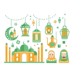 Islamic religious holiday symbols set vector