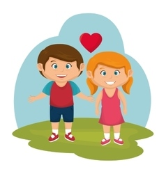 little couple lovers icon vector image