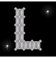 Metal letter l gemstone geometric shapes vector