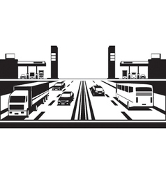 Petrol stations on both sides of the highway vector image