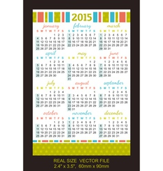 pocket calendar 2015 start on Sunday vector image