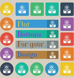 retro photo camera icon sign Set of twenty colored vector image vector image