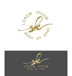 S k handdrawn brush monogram calligraphy logo vector