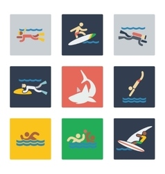 Sea sports flat icons vector