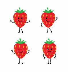 set cartoon strawberrys vector image vector image